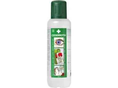 Cederroth Øyedusj gir rikelig flyt av væske. Øyekoppen på flasken styrer væsken til øyet og unødig søl unnvikes.